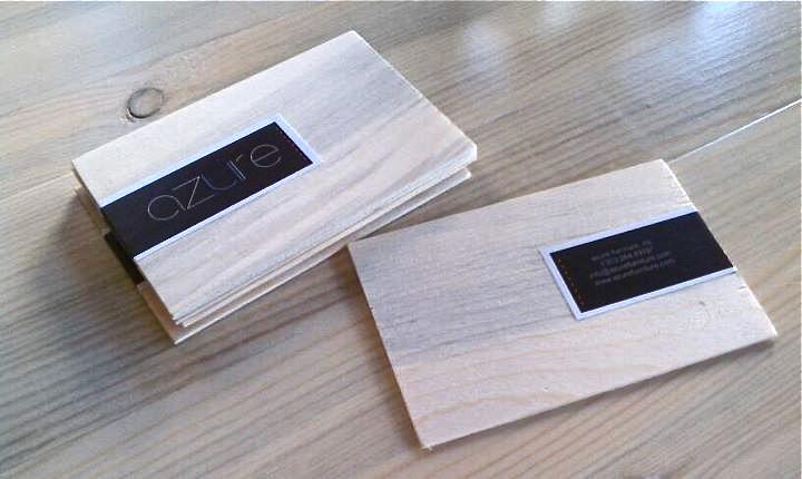 Azure wooden business cards